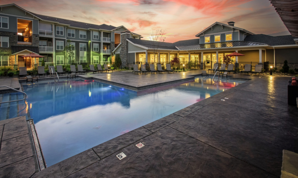 Brookview at Apex Clubhouse, Pool, Sunset